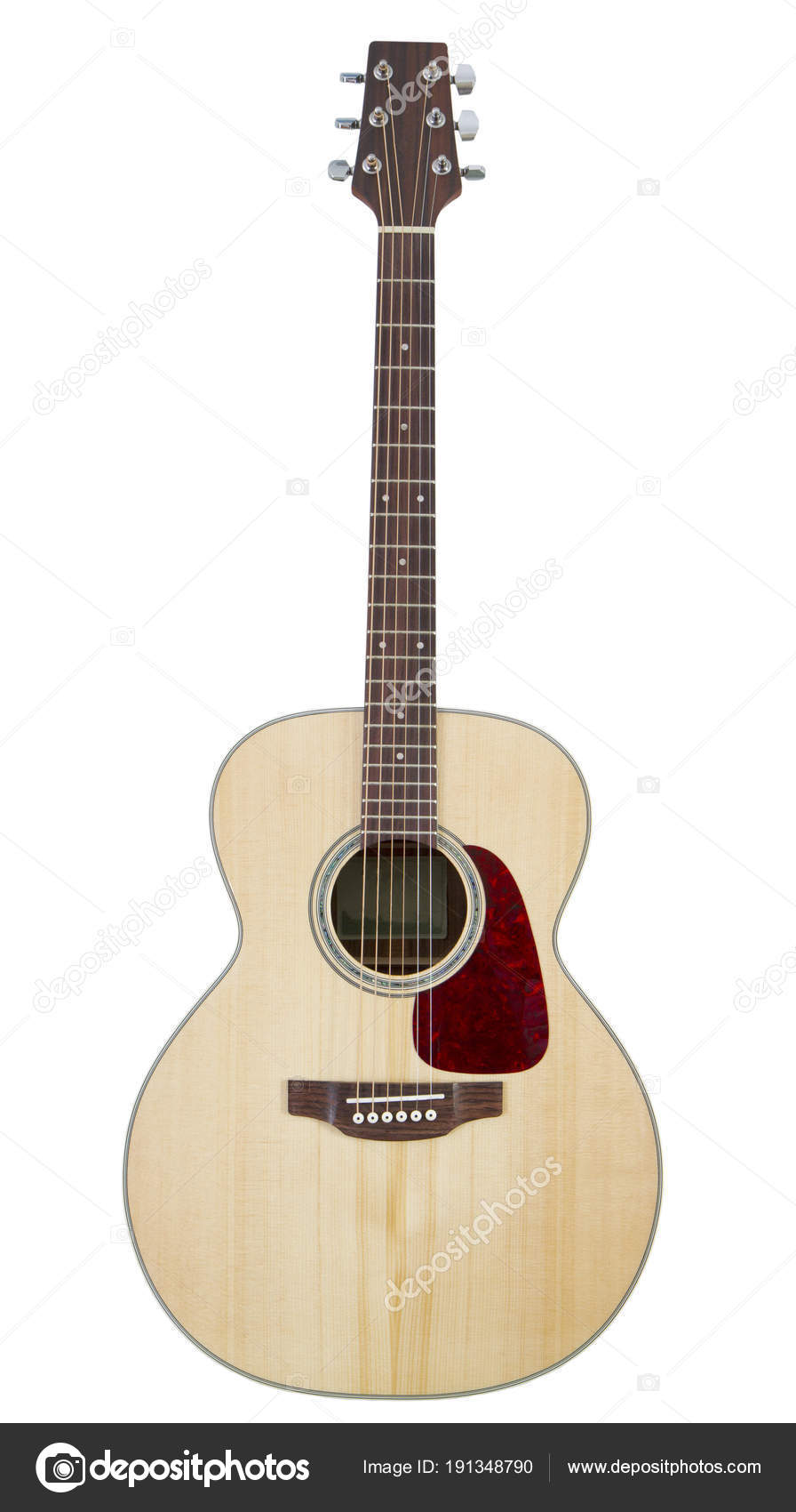 Acoustic Guitar Isolated On White Background Stock Photo