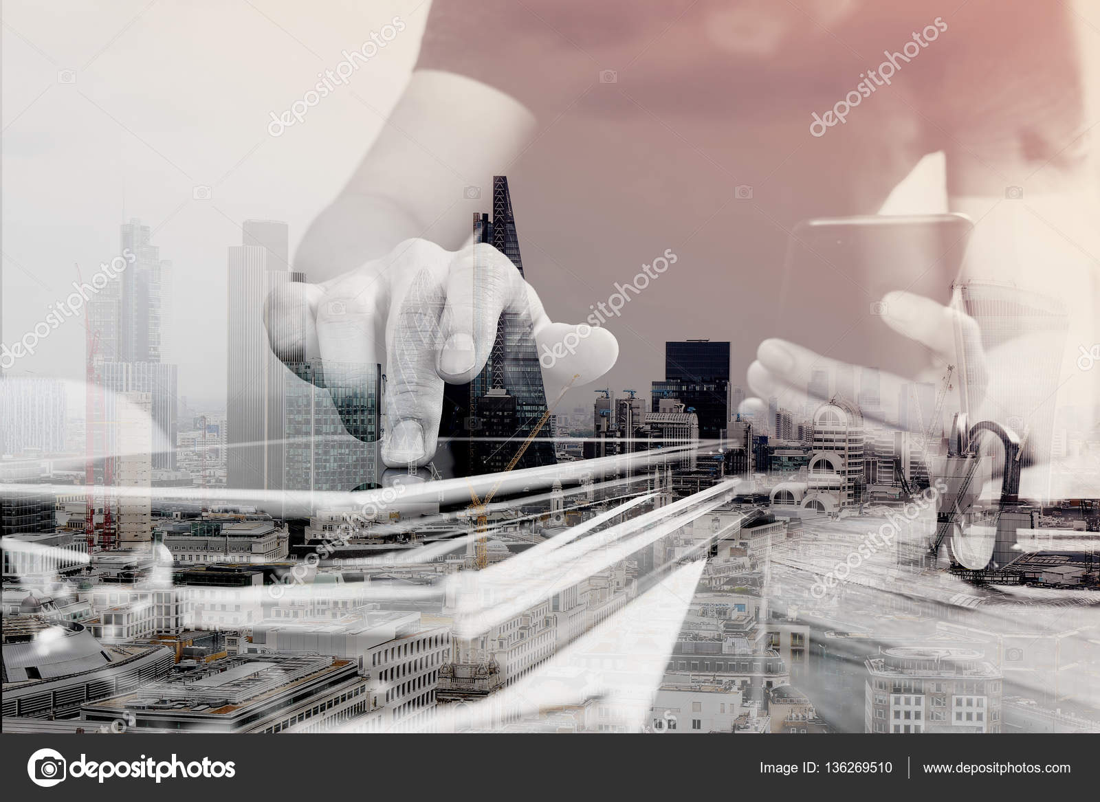 Double exposure of Designer hand using mobile payments