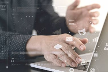 close up of businessman hand working with laptop computer in mod