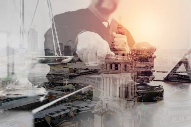 Double exposure of justice and law concept.Male judge in a court