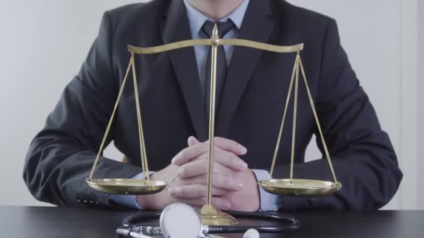Medical law and justice concept.Lawyer and Medicine judges. Health care balance. Litigation in medicine. Judicial healthy technology in slow motion