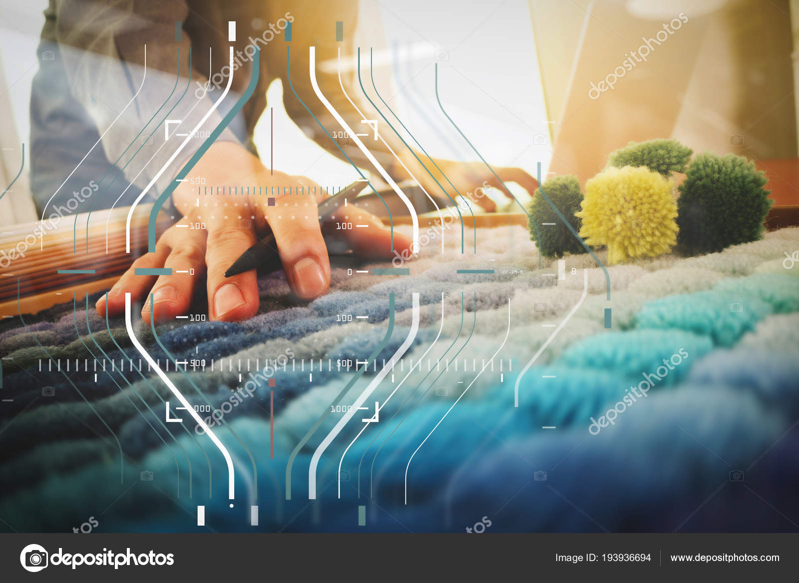 interieur ontwerper hand chosing tapijt monster met lege nieuwe moderne computer laptop en pro digitale tablet met materile bord op houten bureau als