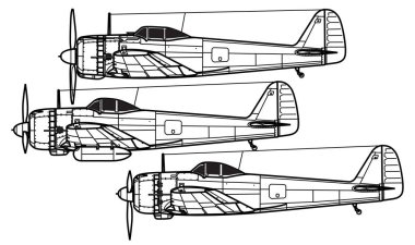 Nakajima Ki-43 Hayabusa Oscar. World War 2 combat aircraft. Side view. Image for illustration.