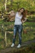Girl  enjoying in the nature