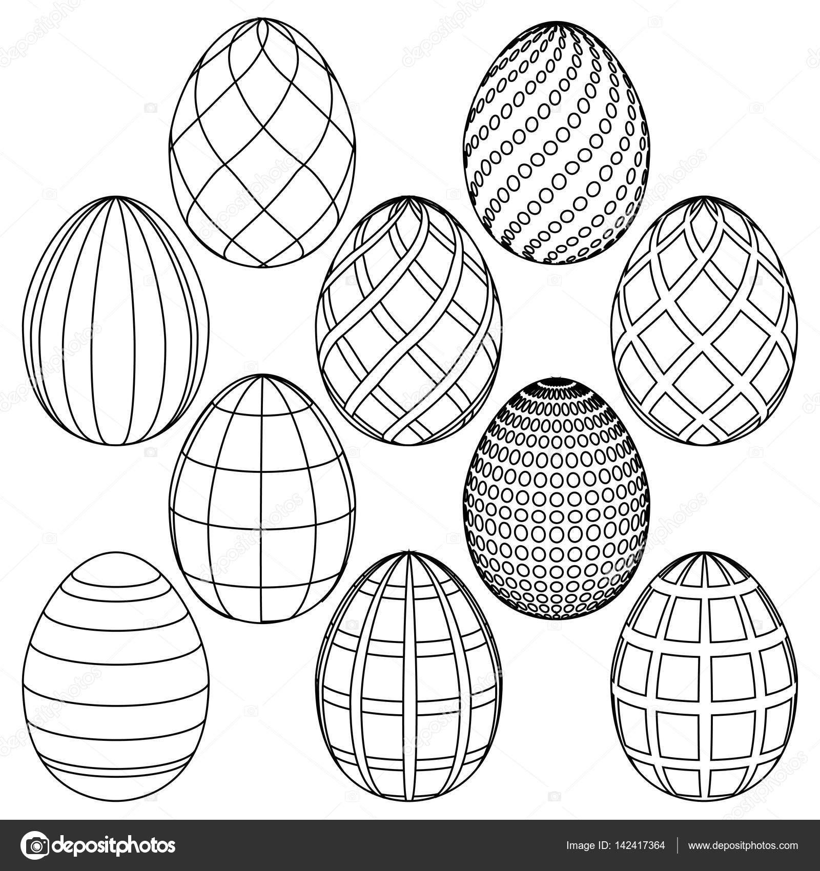 Dibujos de huevos de Pascua para colorear. Ilustración de vector ...