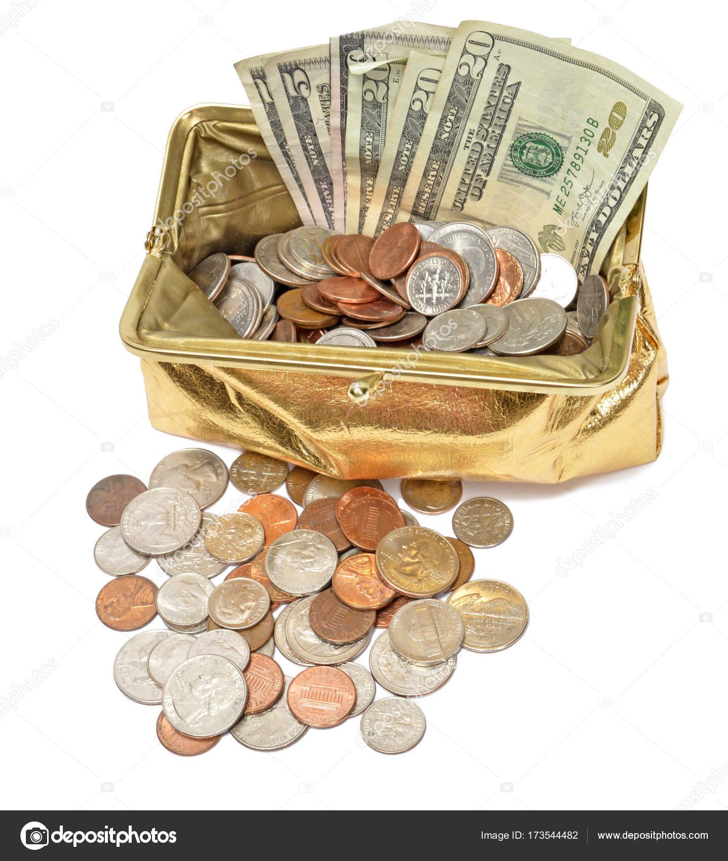 Gold Coin Purse With Cash And Coins Stock Photo Image By Whitestar1955 173544482