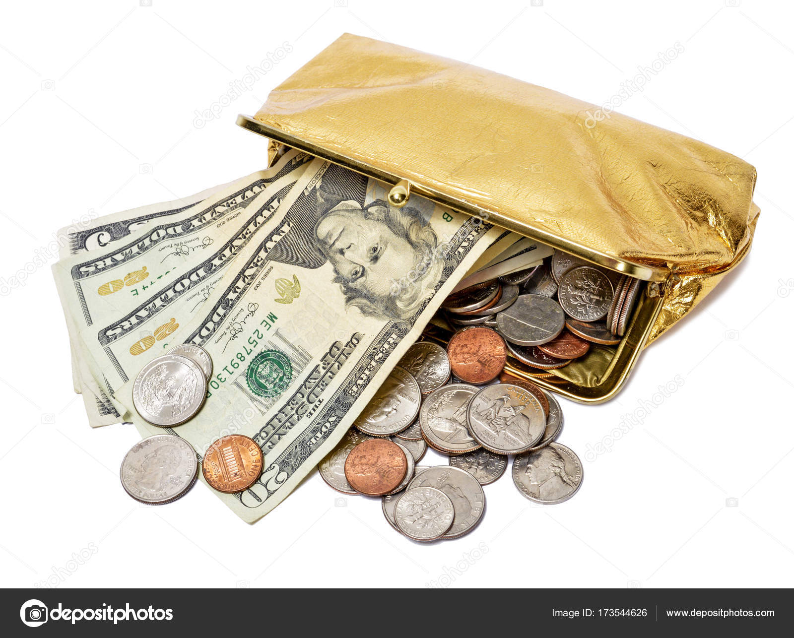 Pictures Show Me Gold Coins Gold Coin Purse With Cash And Coins Stock Photo Whitestar1955 173544626