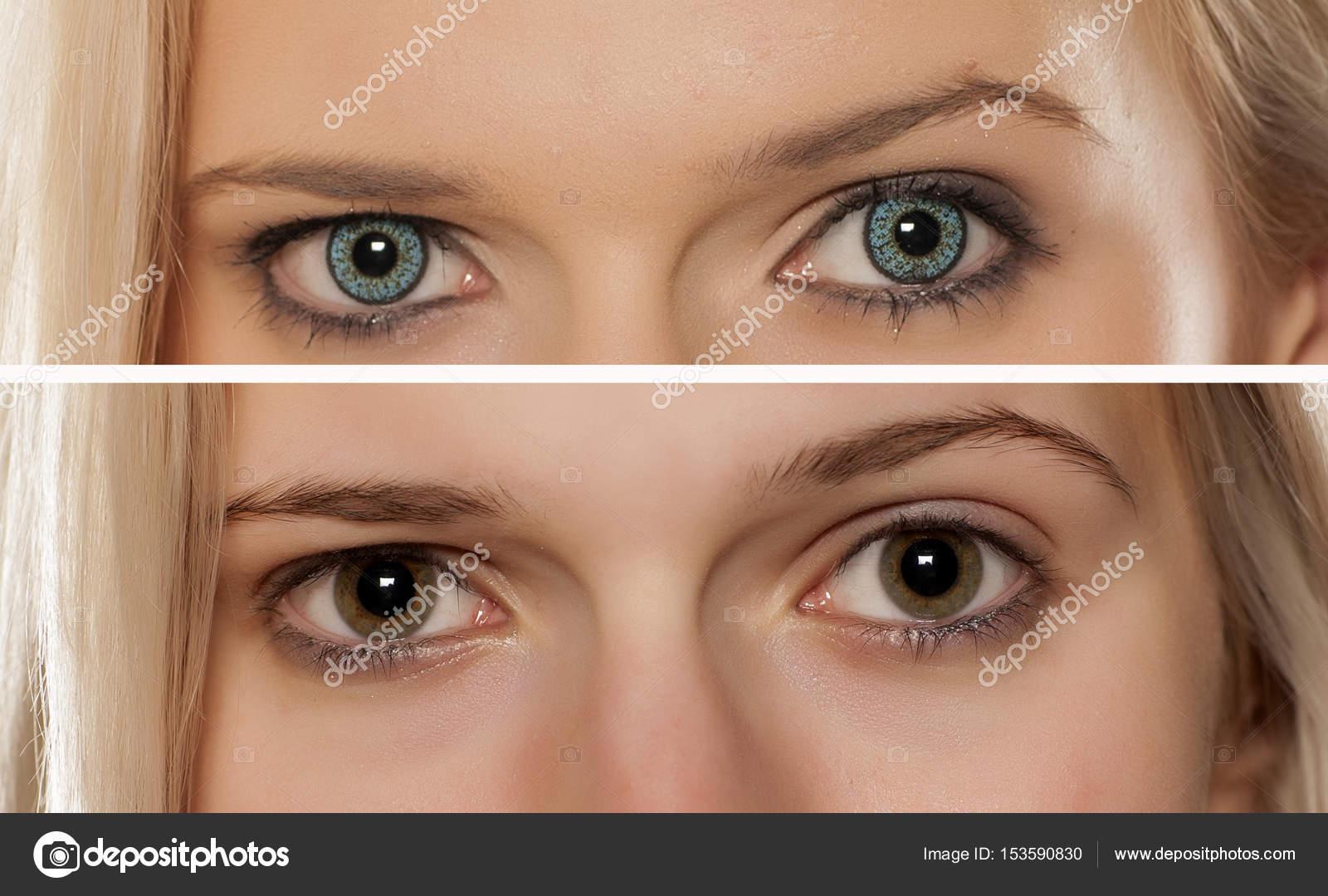 23bcaa94b0 Comparación de los ojos de la mujer, con y sin lentes de contacto color —  Foto de VGeorgiev