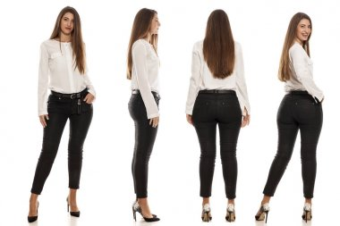 Collage of the same woman in jeans and high heels from different angles