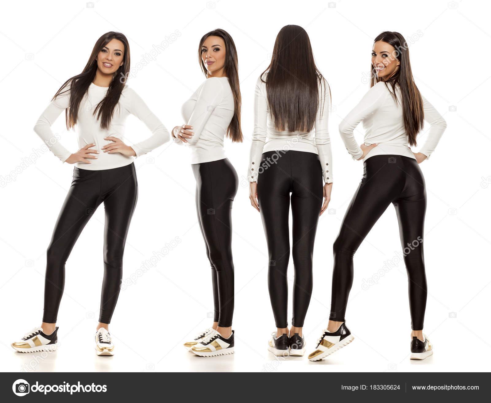 907b7155dad8 Κολάζ Μια Νεαρή Όμορφη Γυναίκα Στο Μαύρο Κολάν Λευκή Μπλούζα ...