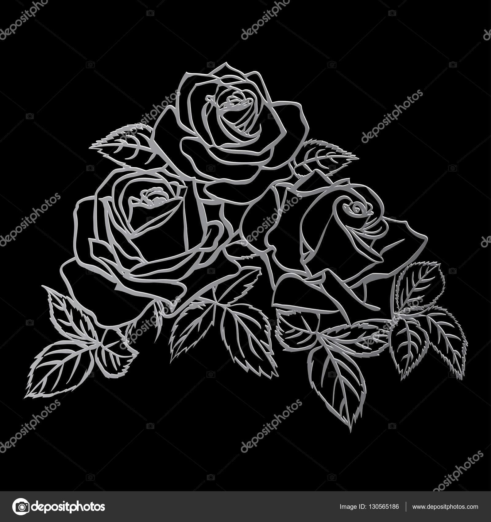Rose Sketch Silver Outline On Black Background Vector Illustration By Likka