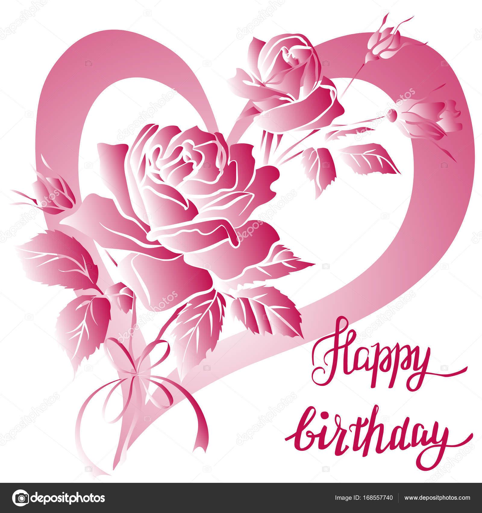 Happy Birthday Schriftzug Und Rose Auf Weissem Hintergrund Stockillustration
