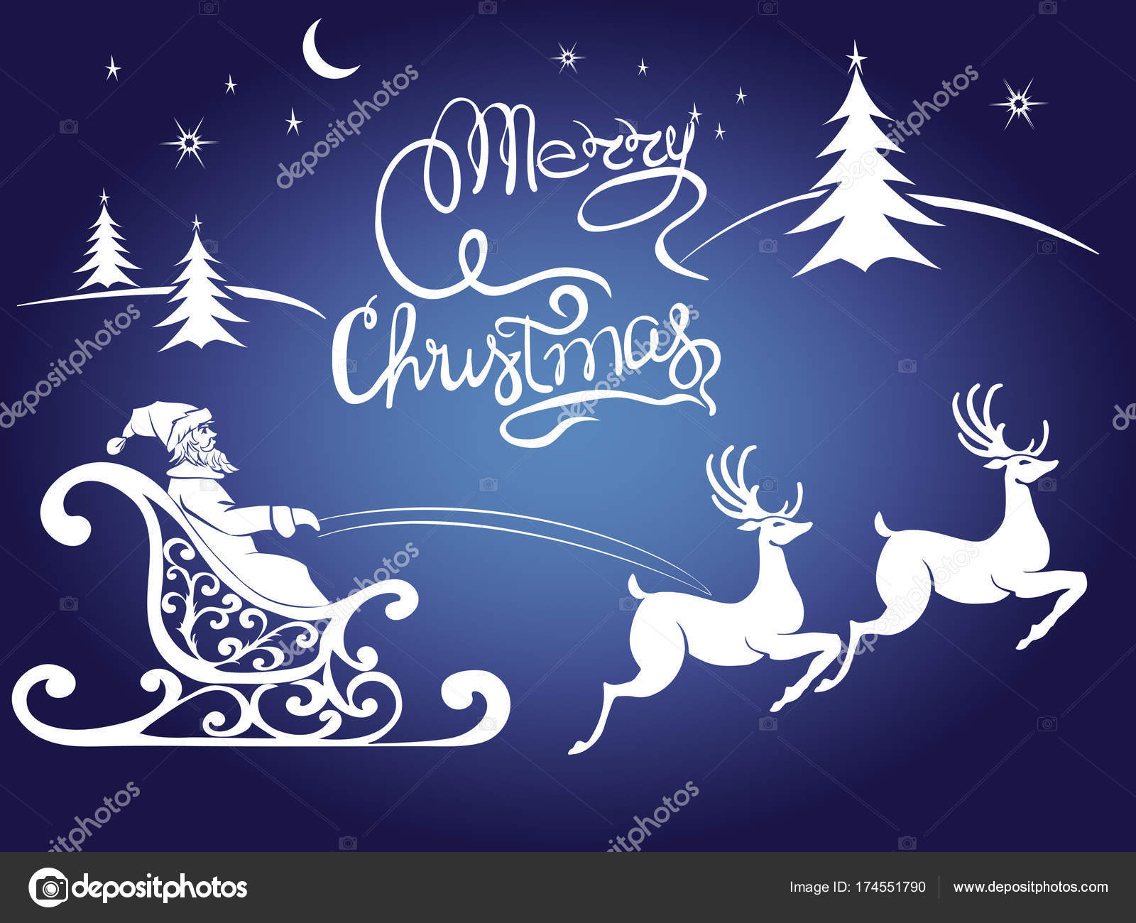 deer merry Christmas poster template — Stock Vector © Likka #174551790