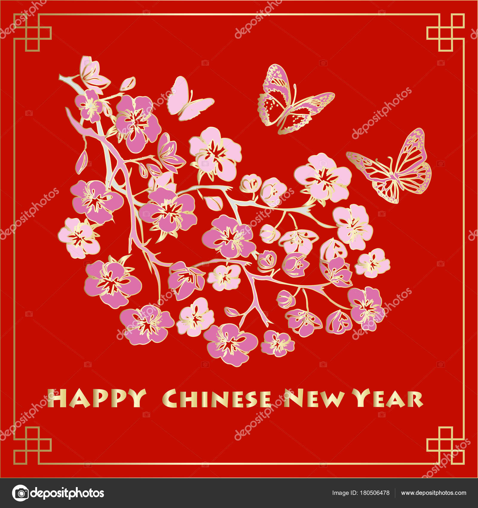 Happy New Chinese Year Card With Blossom Tree And Butterflies