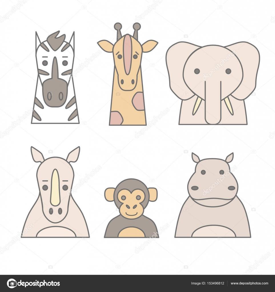 Conjunto de animales de zoológico — Vector de stock © vextok #153496812