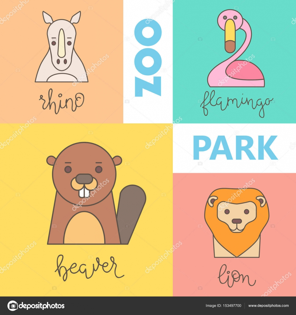 zoo logo with animals template stock vector vextok 153497700