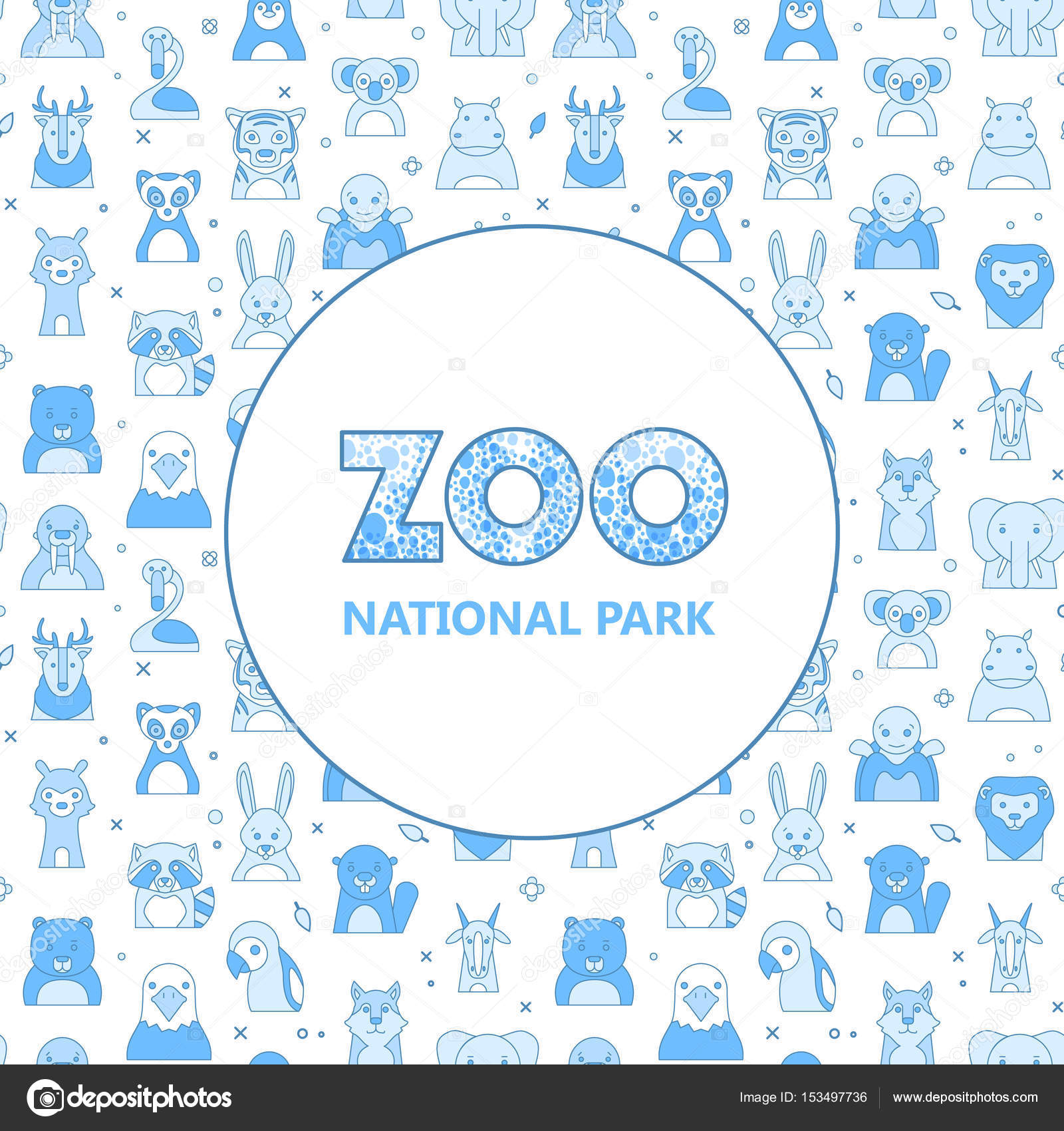 zoo logo with animals template stock vector vextok 153497736