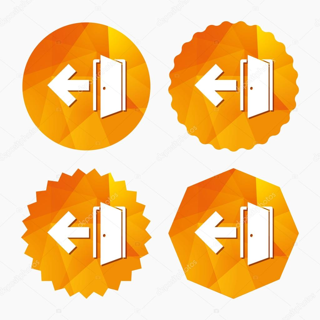 Emergency exit sign icon door with left arrow stock vector emergency exit sign icon door with left arrow symbol fire exit triangular low poly buttons with flat icon vector vector by blankstock buycottarizona Images