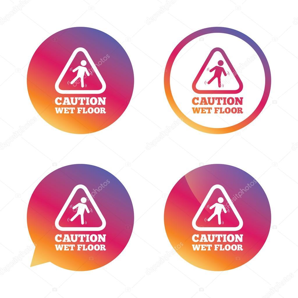 icona del segno di attenzione pavimento bagnato umana caduta simbolo di triangolo tasti di gradiente con icona piana segno della bolla di discorso