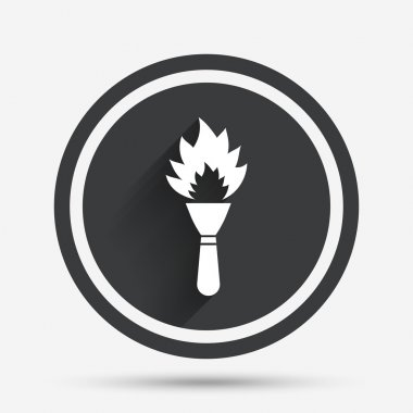 Torch flame sign icon.