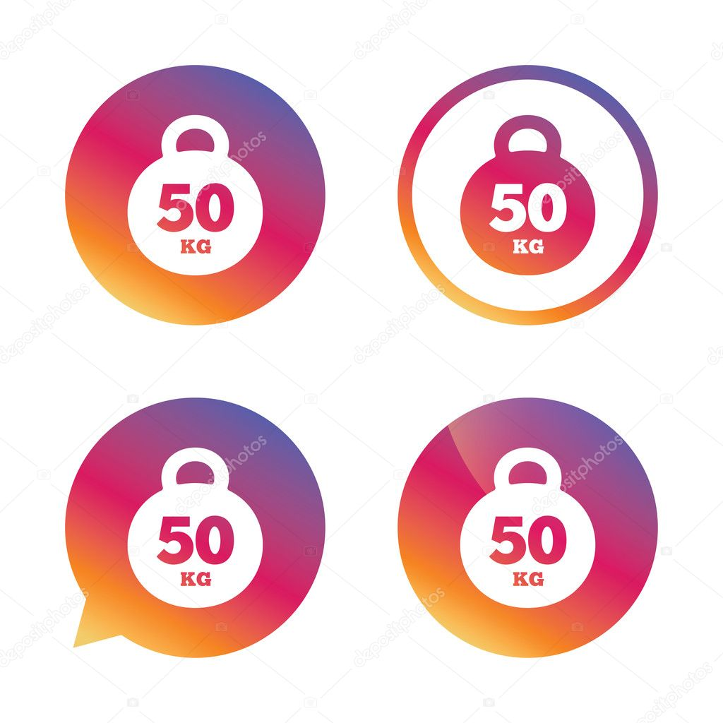 Weight Sign Icon 50 Kilogram Kg Sport Symbol Stock Vector