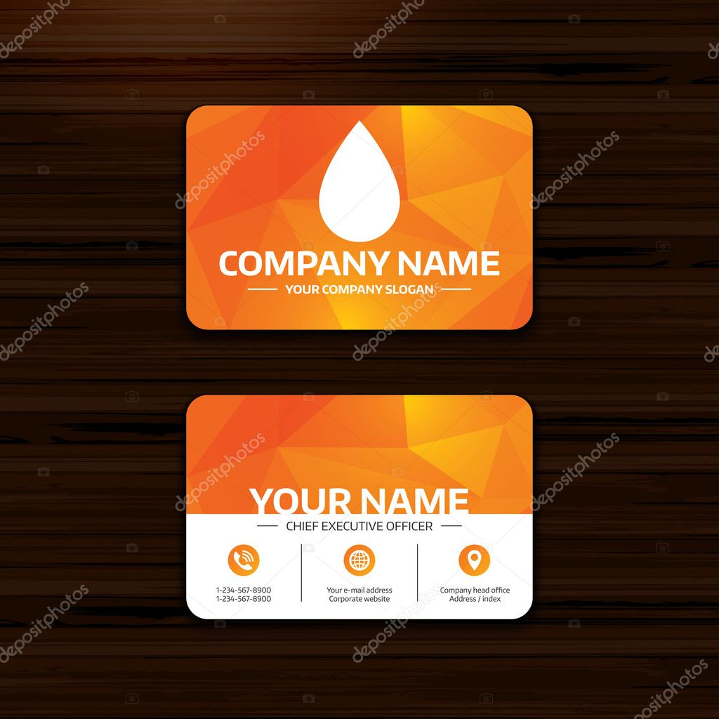 Water drop sign icon tear symbol stock vector blankstock business or visiting card template water drop sign icon tear symbol phone globe and pointer icons vector vector by blankstock magicingreecefo Image collections
