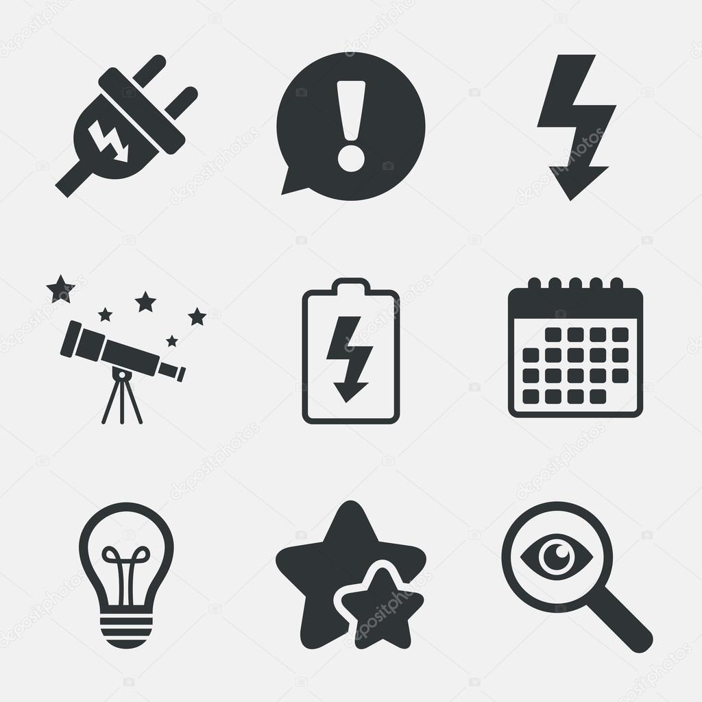 Elektrischer Stecker Zeichen. Lampe und Batterie schwach ...