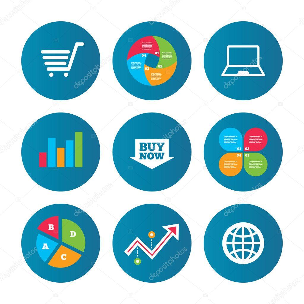 013442eb039408 Curva di crescita. Tasti di presentazione. Icone di acquisto online. Pc  notebook, carrello, Acquista ora segni freccia e internet. Simbolo del  globo www.