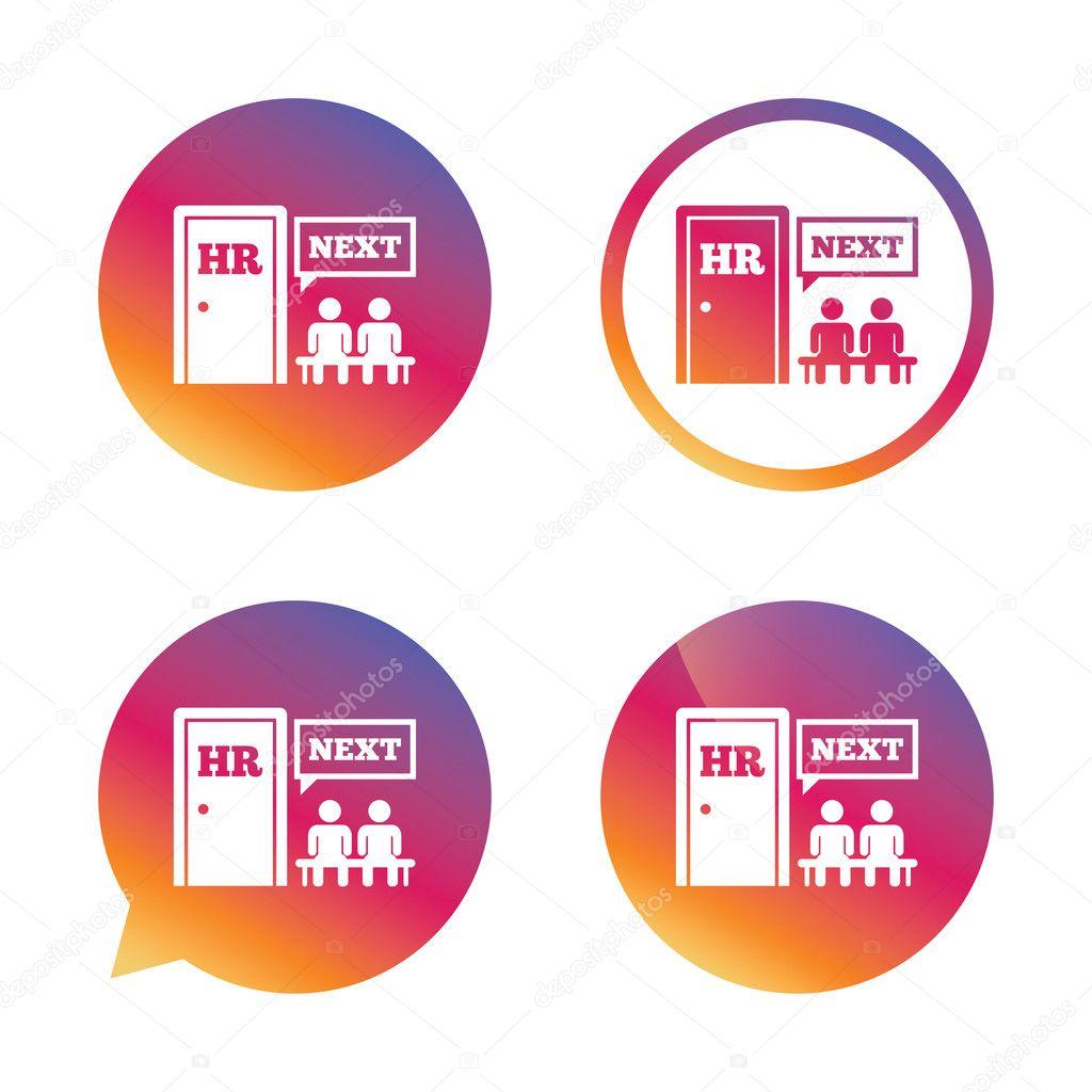 Cone de sinal de recursos humanos smbolo de rh vetor de stock queue at the hr door symbol workforce of business organization gradient buttons with flat icon speech bubble sign vector vetor por blankstock ccuart Images