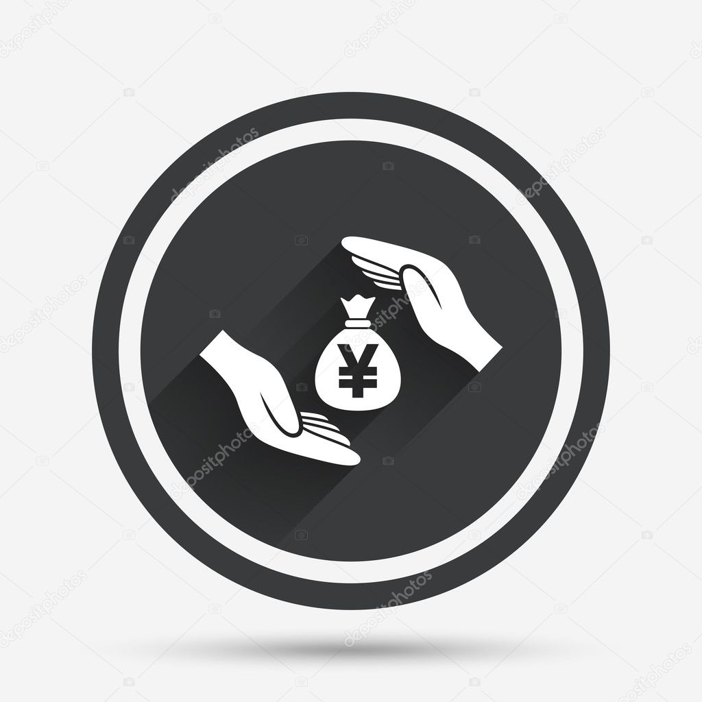 Protection Money Sign Icon Hands Protect Cash Stock Vector