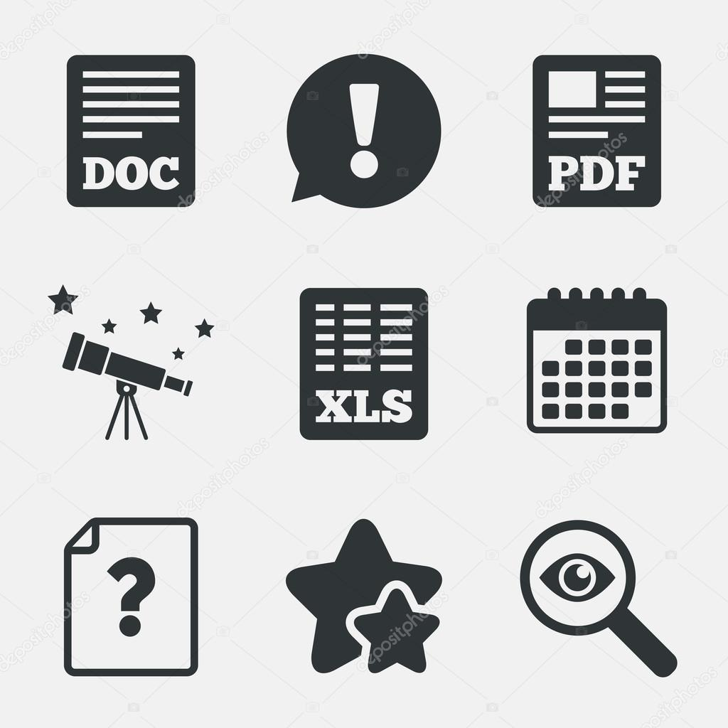 Document Icons Xls Pdf File Signs Stock Vector Blankstock