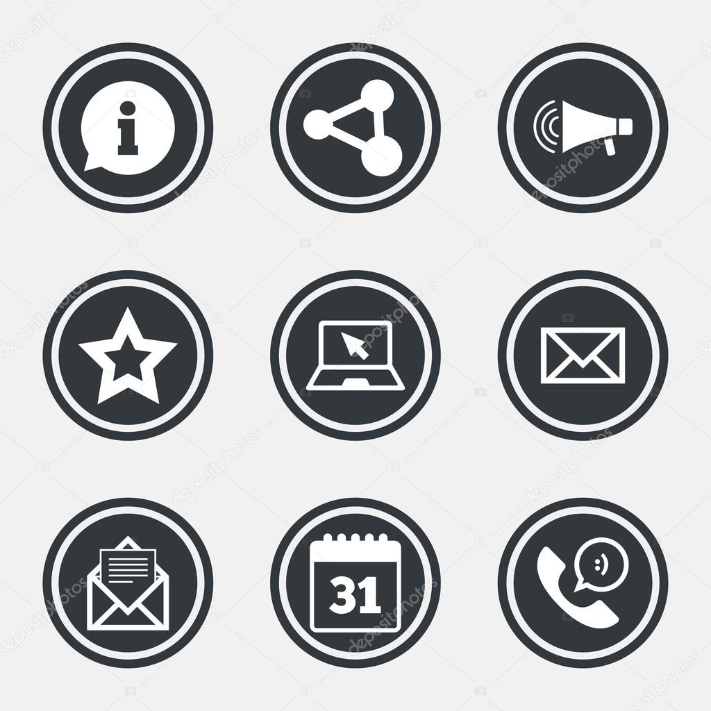 Communication icons contact mail signs stock vector communication icons contact mail signs e mail information speech bubble and calendar symbols circle flat buttons with icons and border biocorpaavc Gallery