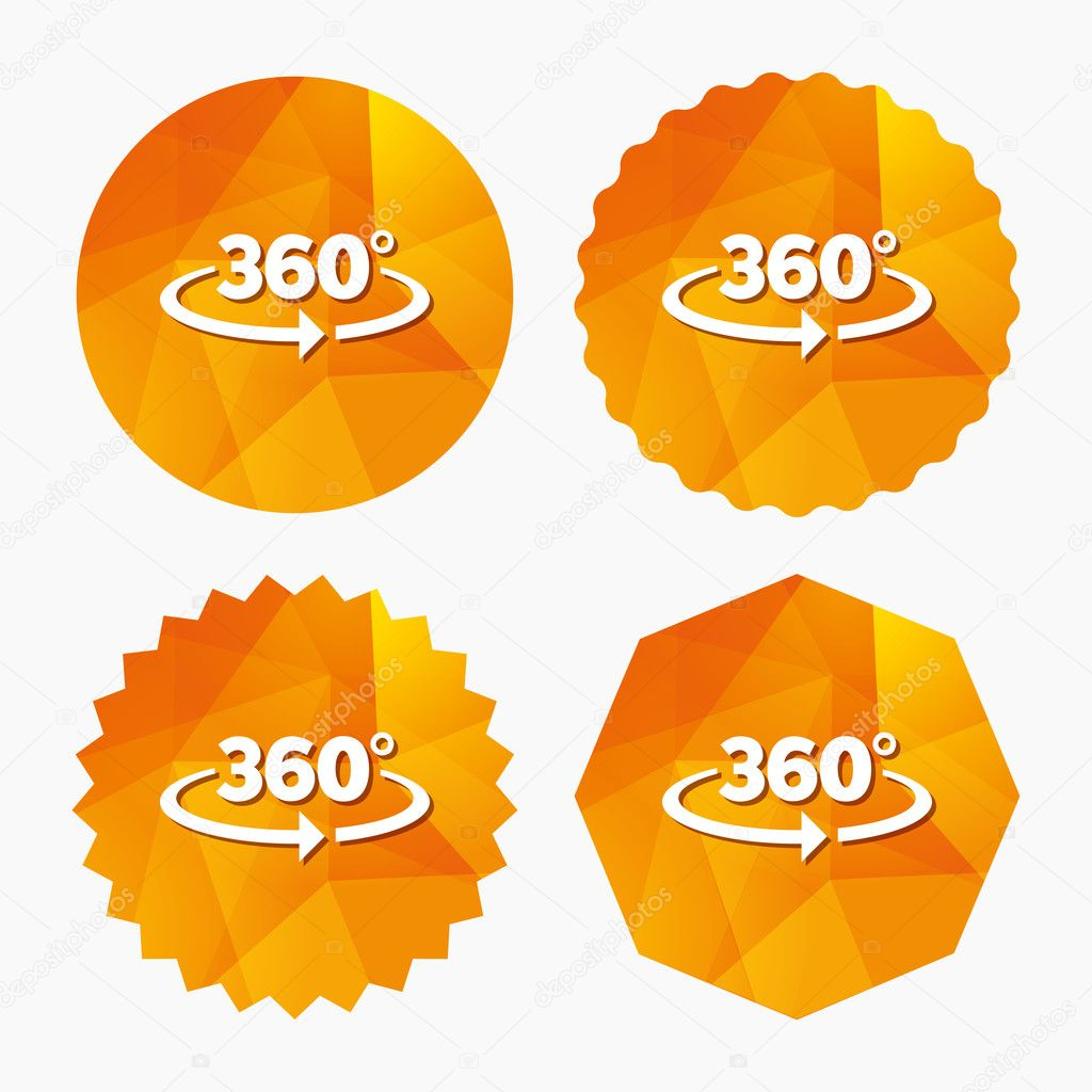 Angle 360 Degrees Sign Icon Geometry Math Symbol Stock Vector