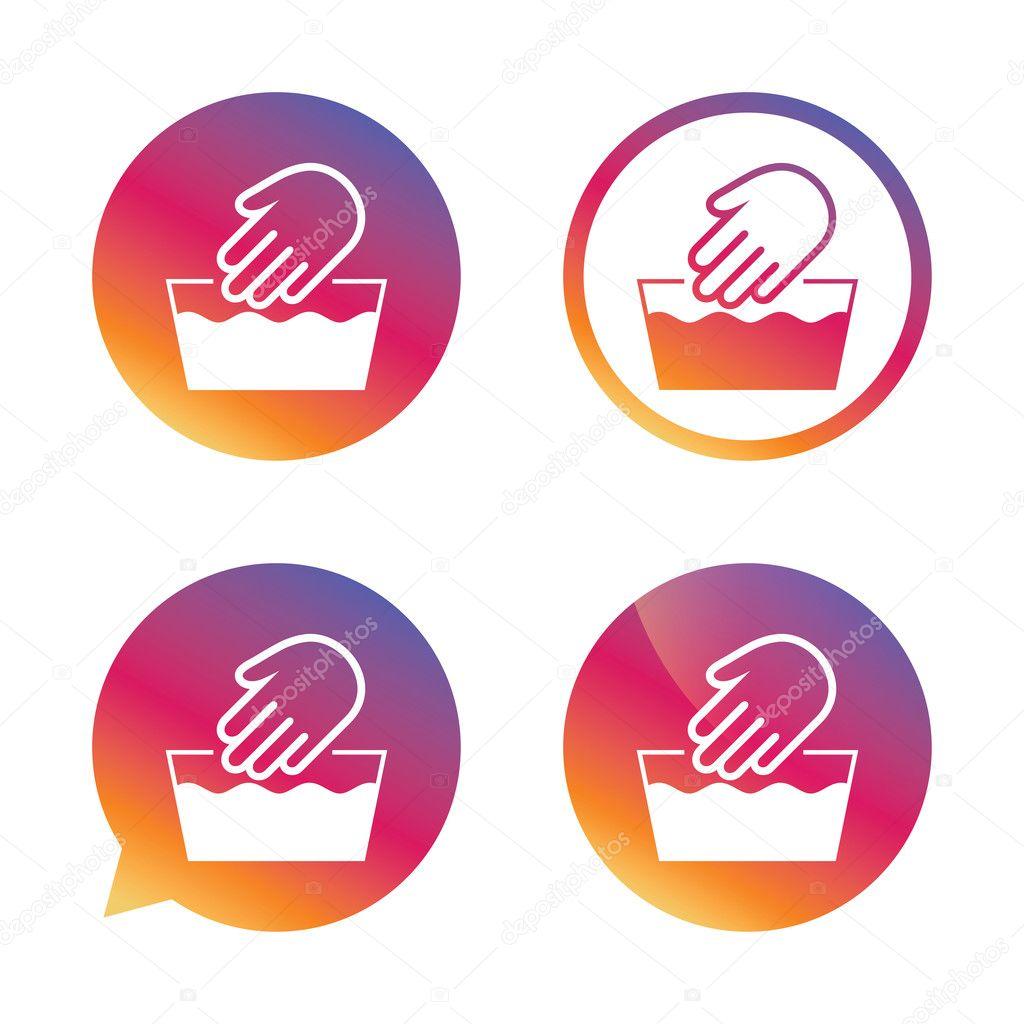 Hand Wash Sign Icon Not Machine Washable Symbol Stock Vector