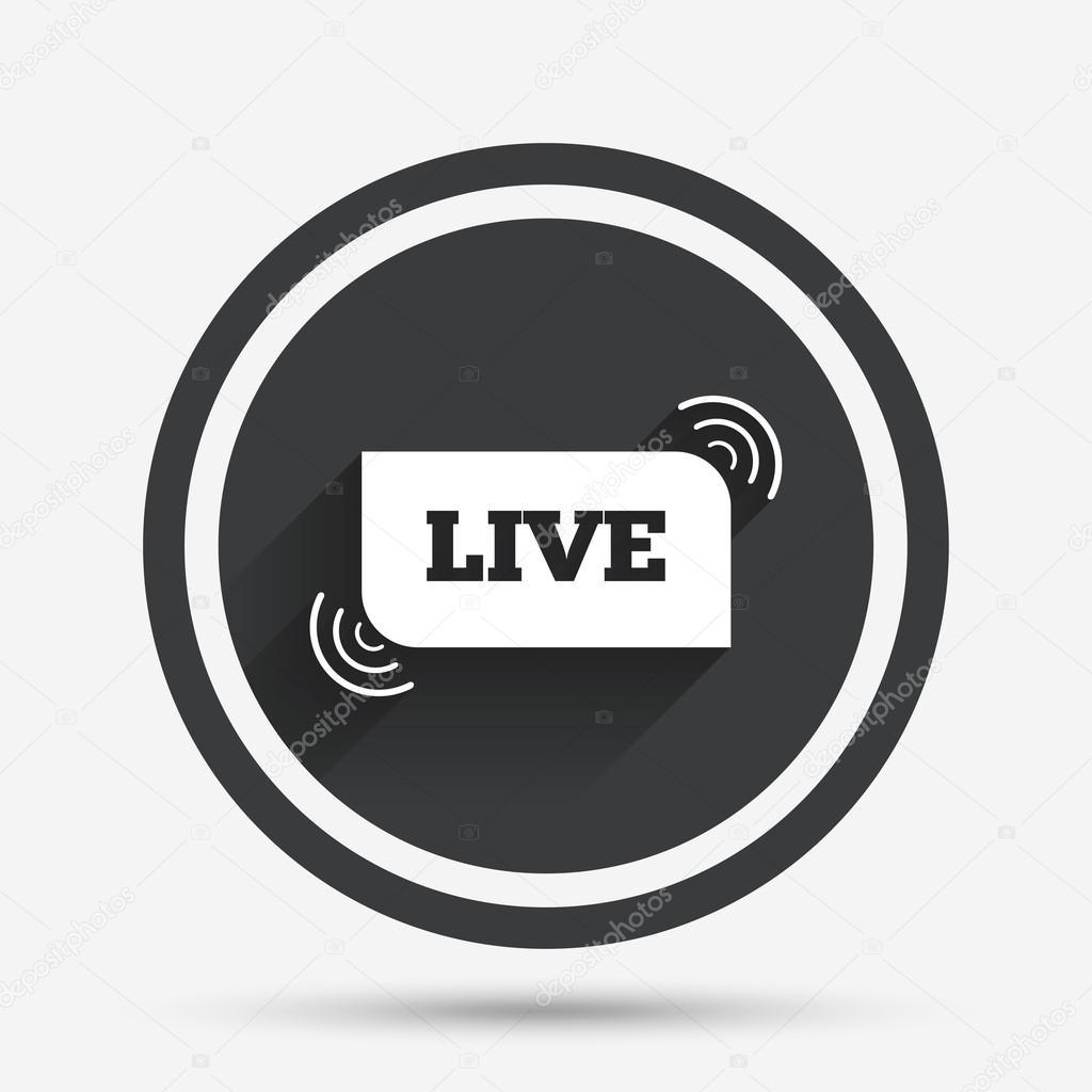 Live Sign Icon On Air Stream Symbol Stock Vector Blankstock