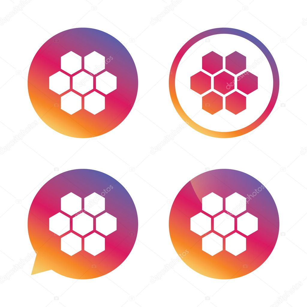 Honeycomb sign icons. Honey cells symbols.