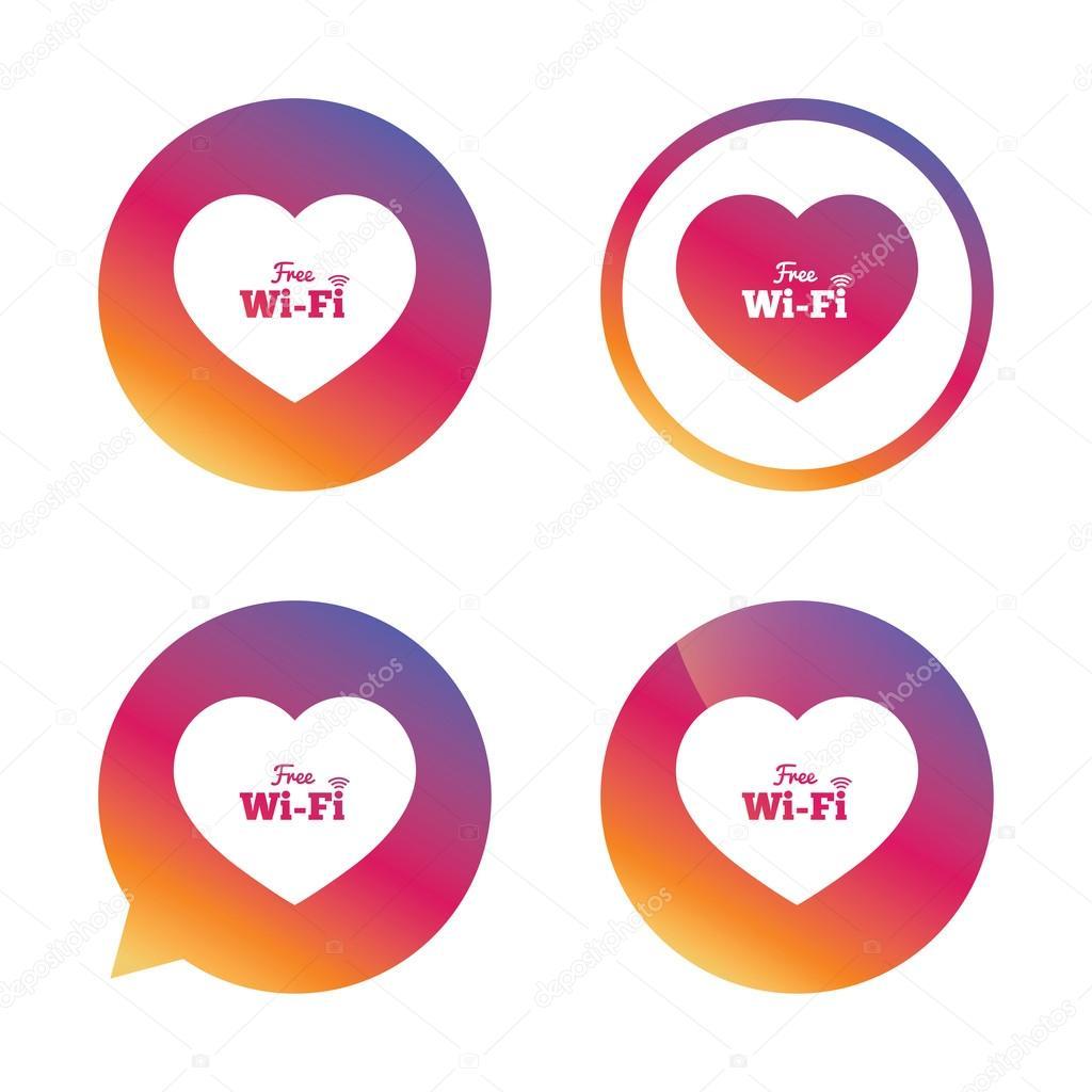 Amor libre wifi las señales Wifi símbolos. Iconos de red inalámbricos. Zona  WiFi. Gradiente botones con iconos planos. Signos de la burbuja del  discurso. 173ec2b76df56