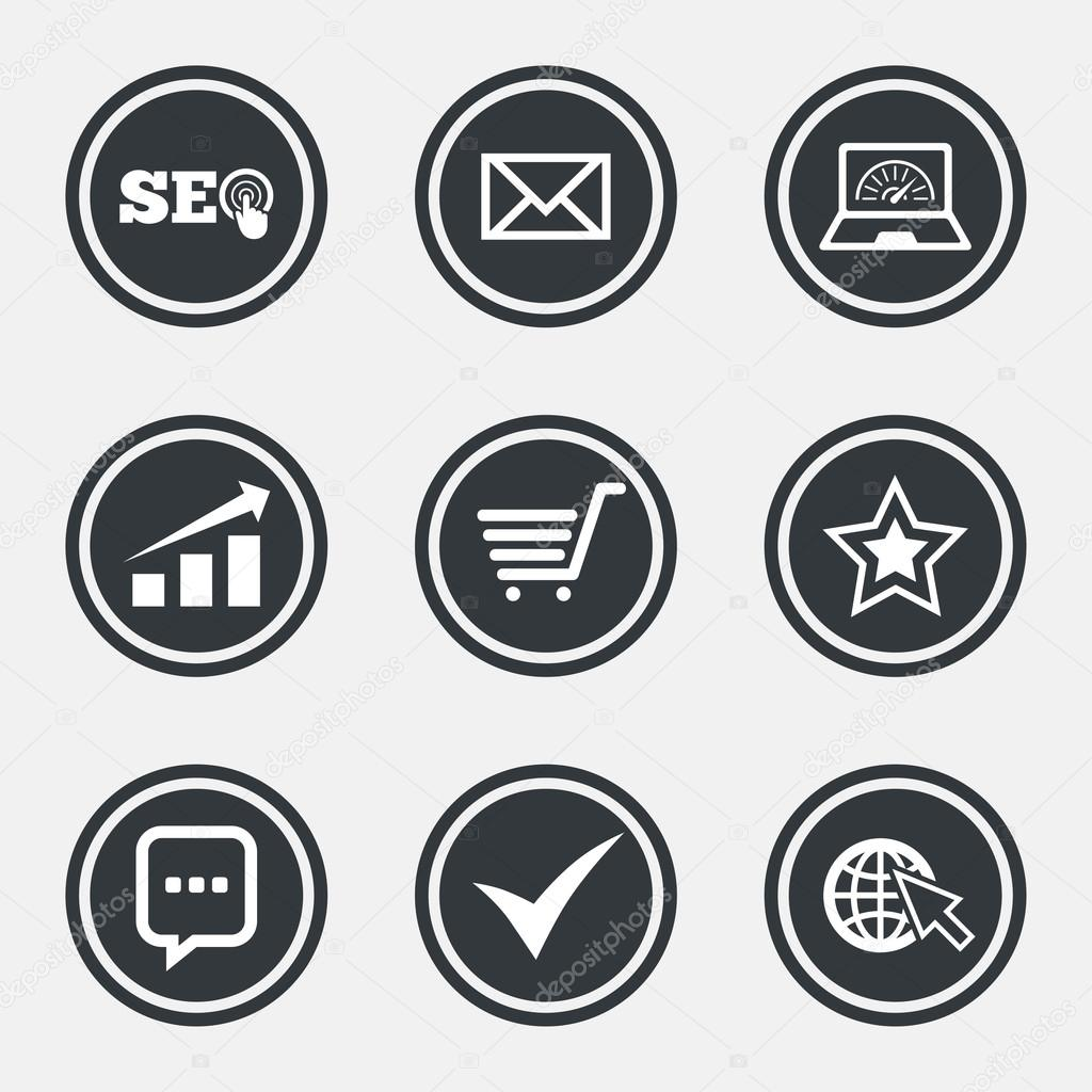 Internet seo icons stock vector blankstock 127766212 internet seo icons tick online shopping and chart signs bandwidth mobile device and chat symbols circle flat buttons with icons and border biocorpaavc