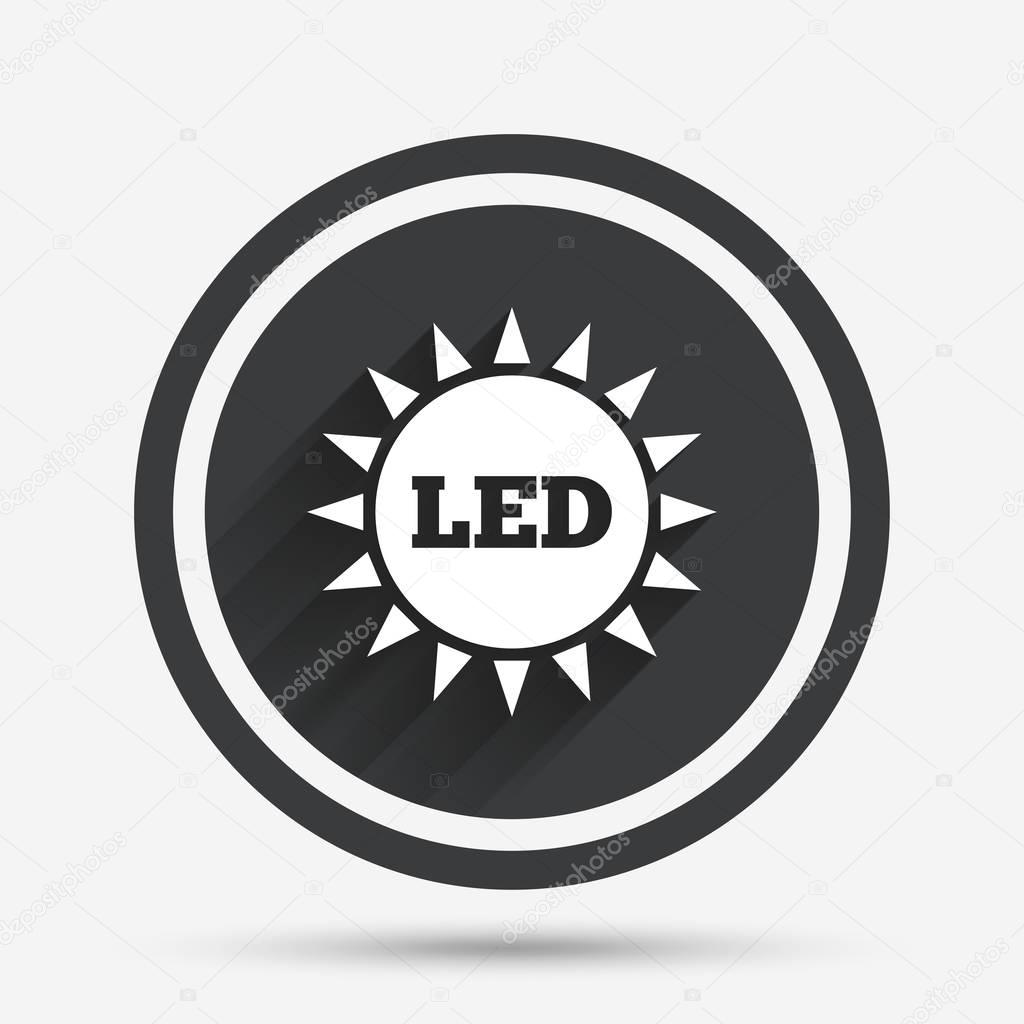 Led light sun icon stock vector blankstock 128921100 led light sun icon energy symbol circle flat button with shadow and border vector vector by blankstock biocorpaavc Images