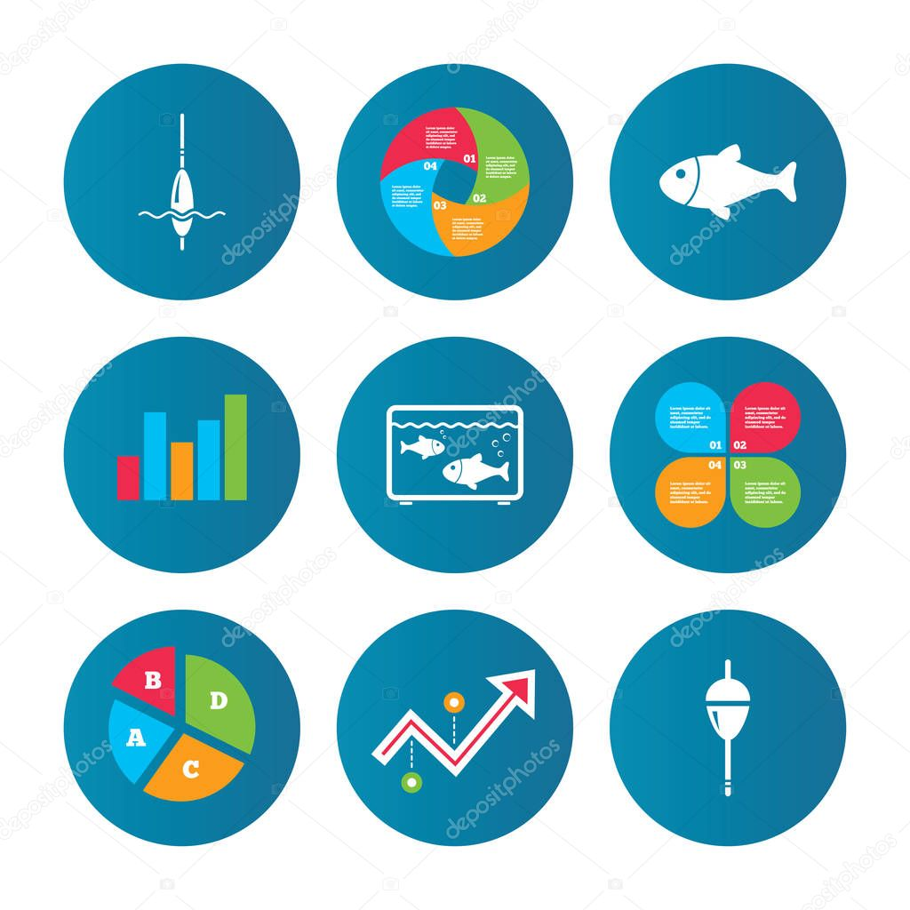 Business pie chart stock vector blankstock 128922152 business pie chart growth curve presentation buttons fishing icons fish with fishermen hook sign float bobber symbol aquarium icon data analysis geenschuldenfo Images