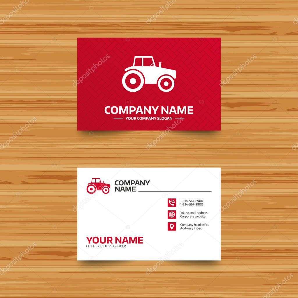 Business card template stock vector blankstock 128928362 business card template tractor sign icon agricultural industry symbol phone globe and pointer icons visiting card design vector vector by blankstock colourmoves