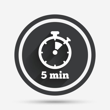 Timer sign icon. 5 minutes stopwatch symbol. Circle flat button with shadow and border. Vector clip art vector
