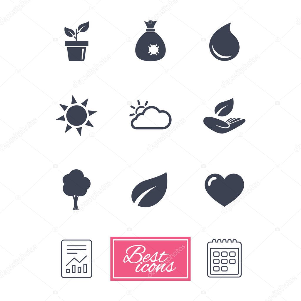 Sprout, leaf icons.