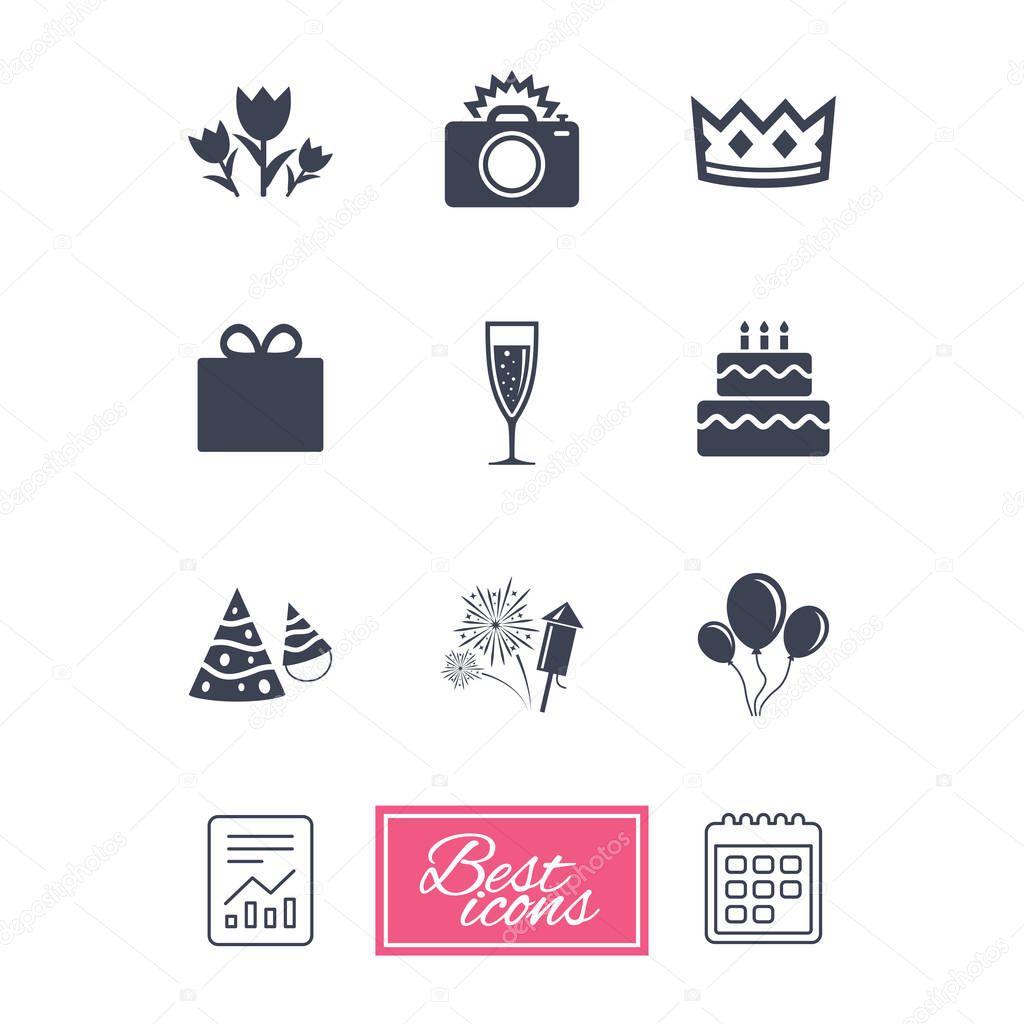 Party celebration, birthday icons.