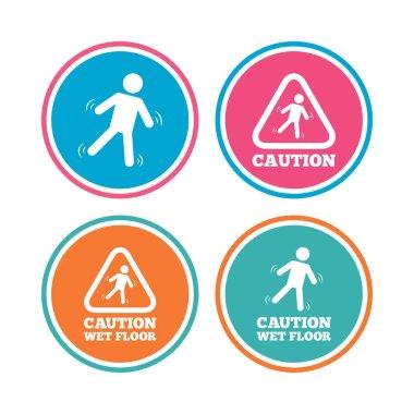 Caution wet floor icons
