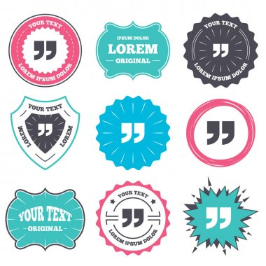 Label and badge templates. Quote sign icon. Quotation mark symbol. Double quotes at the end of words. Retro style banners, emblems. Vector clip art vector