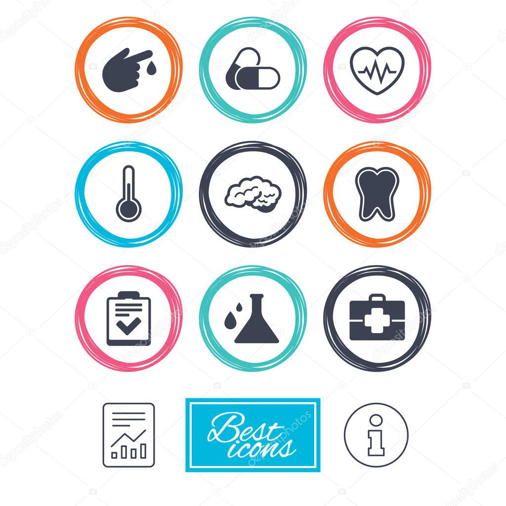 Medicine healthcare and diagnosis icons stock vector tooth pills and doctor case signs neurology blood test symbols report document information icons vector vector by blankstock biocorpaavc