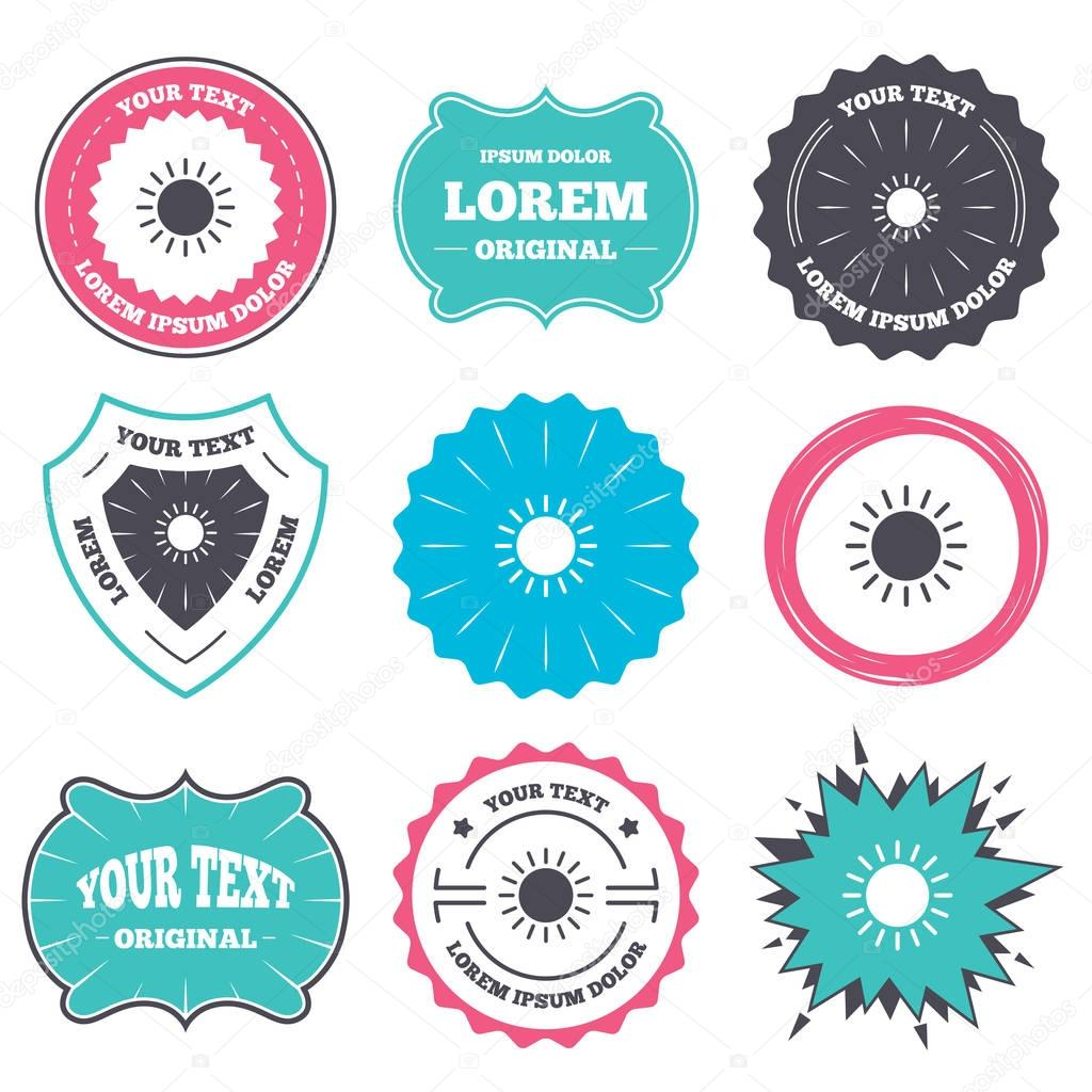 Labels with sun  icons