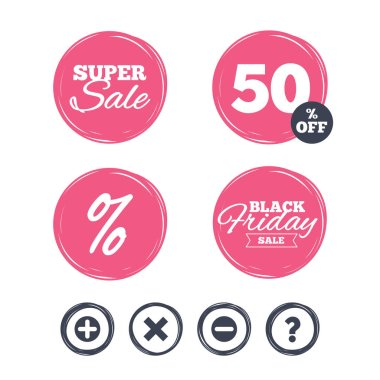 Super sale and black friday stickers.