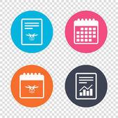 Report document, calendar icons.